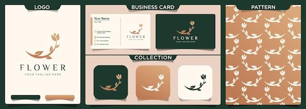 미니멀리스트 꽃 장미 로고 디자인