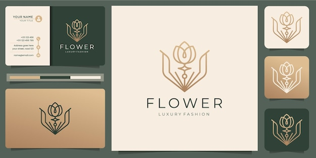 Minimalist flower rose logo templates and business card design