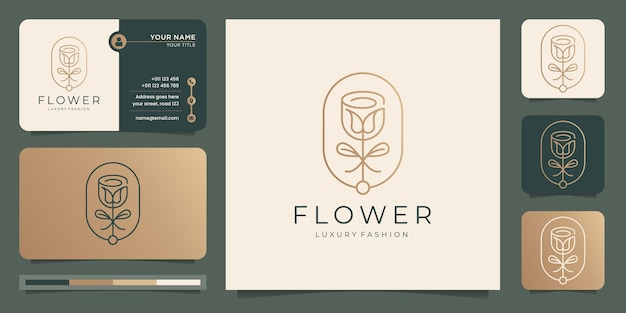 프레임 모양 템플릿 및 명함 디자인으로 미니멀리스트 꽃 장미 로고.