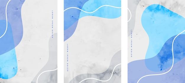ミニマリストの流体は青い色で設定された抽象的なチラシを形作ります