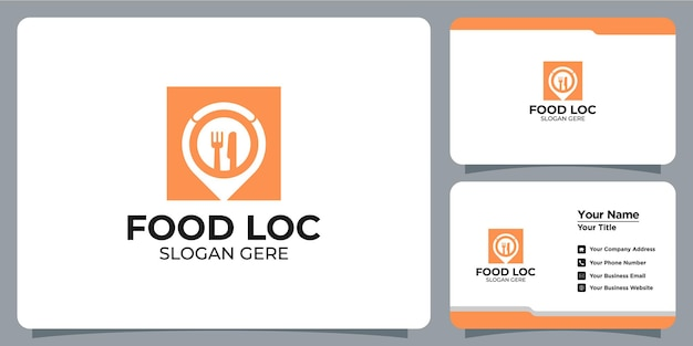 Minimalist food and location logo set with business card branding