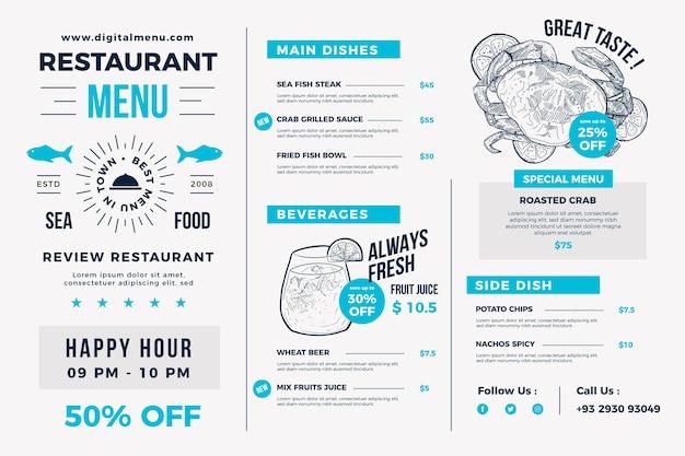 디지털 사용을위한 미니멀리스트 음식 메뉴
