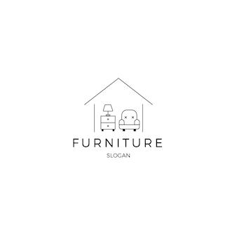 Минималистская мебель фирменный стиль логотипа шаблона
