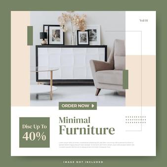 Minimalist furniture interior design social media template