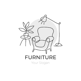 Minimalist furniture logo background