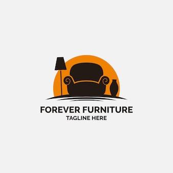 アームチェアの形をしたシンプルな家具ロゴ