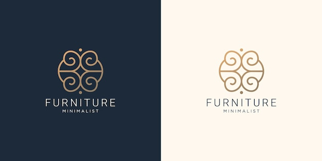 Minimalist furniture logo template.interior line art style design symbol logo illustration template.