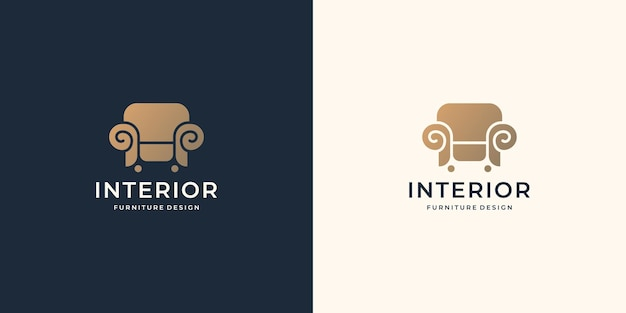 Minimalist furniture logo template. luxury chair flat design style furnishing, interior, decoration.