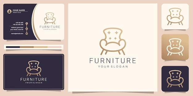 Minimalist furniture logo with chair and business card