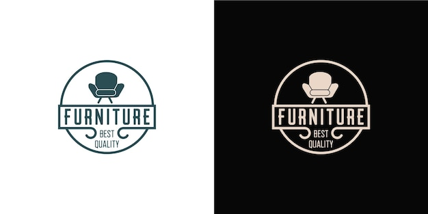 Minimalist furniture logo with line art style logo design and business card template
