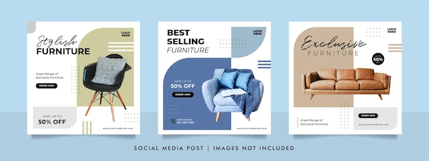 Minimalist furniture sale banner or social media post template