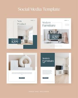 Minimalist furniture sale instagram social media banner template