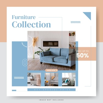Minimalist furniture sale social media banner template