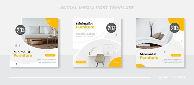 Минималистичная мебель в социальных сетях и шаблон поста в instagram