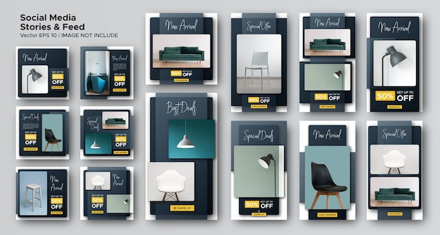 Minimalist furniture social media post feed and stories bundle template