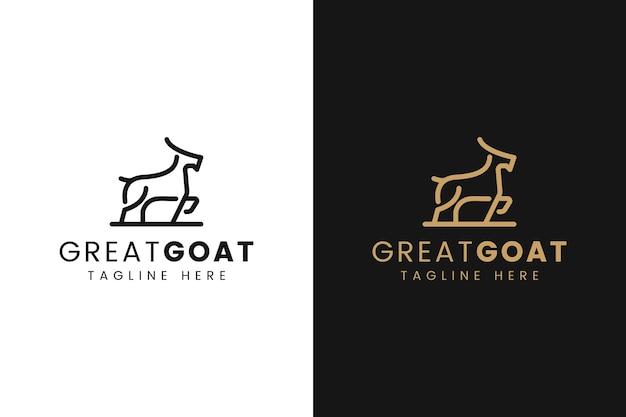 ラインアートスタイルのミニマリストヤギのロゴ