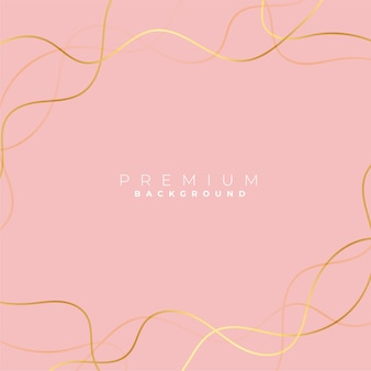 Minimalist golden curve lines on pastel background