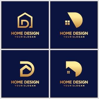 홈 요소와 미니 멀 황금 편지 d 로고 디자인.