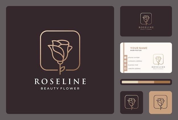 名刺テンプレートとミニマリストのゴールデンラインの花のロゴのデザイン。