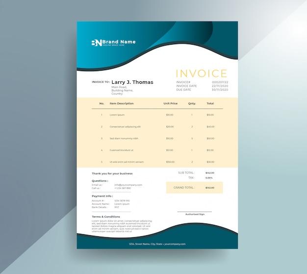 Minimalist gradient wavy invoice template