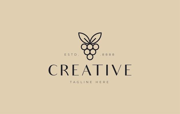ミニマリストのブドウのロゴデザインアイコンテンプレート