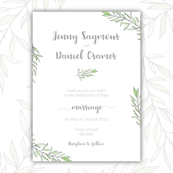 Minimalist green and white wedding invitation