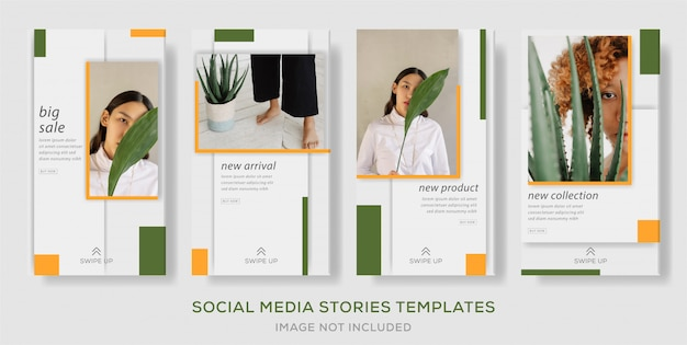Minimalist green yellow instagram social media stories post banner