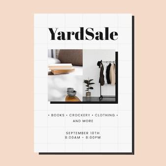 Modello di volantino per la vendita di un cortile minimalista con griglia