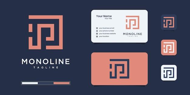 미니멀리스트 h 및 p 또는 hp 로고 모노그램, 알파벳, 문자, 초기 디자인 영감