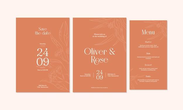ミニマリストの手描きの結婚式の招待カードのテンプレートデザイン
