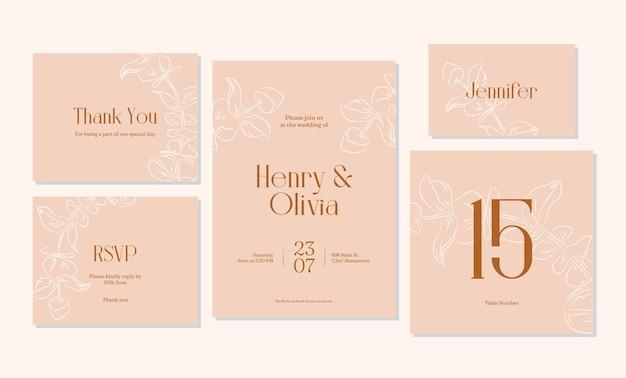 ミニマリストの手描きの結婚式の招待カードのテンプレートデザイン Premiumベクター