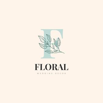 ミニマリストの手描きの花のロゴ