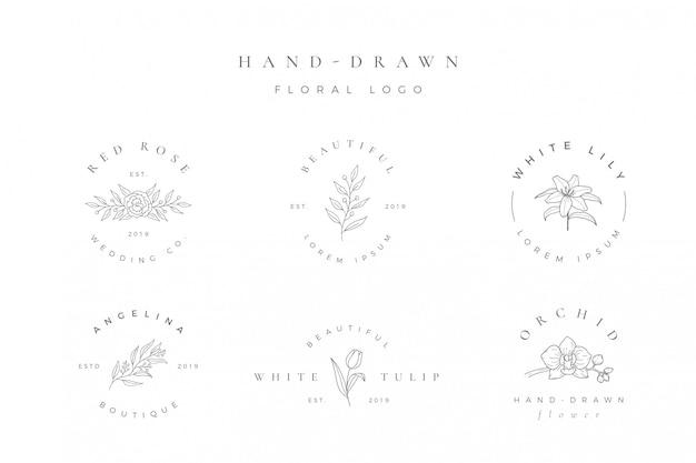 シンプルな手描きの花のロゴ