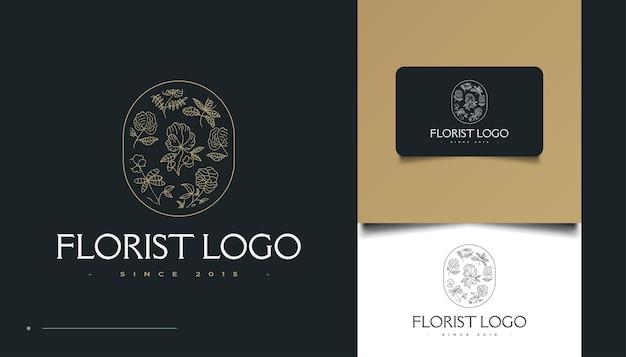Минималистский рисованный логотип с цветами в стиле line art, для спа, косметики, красоты, флористов и моды