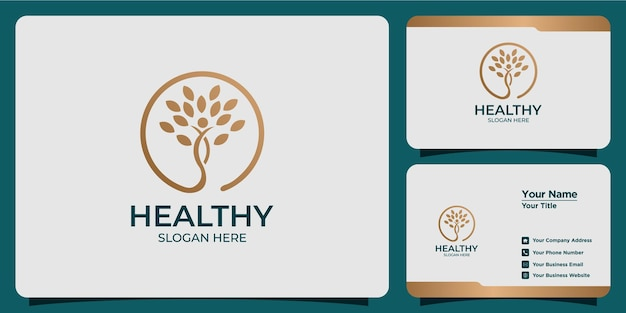 현대적인 스타일의 로고 디자인과 명함 템플릿이 있는 미니멀한 건강 로고