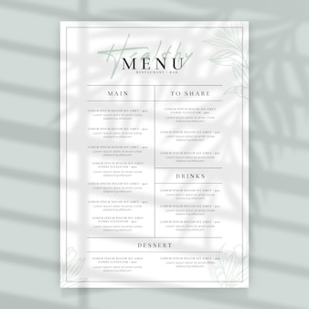Minimalist healthy food restaurant menu