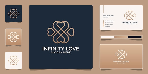 Minimalist heart logo design with infinity symbol. beauty icons salon, spa, yoga and business card template.