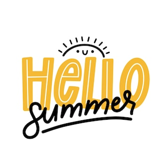 Minimalist hello summer lettering