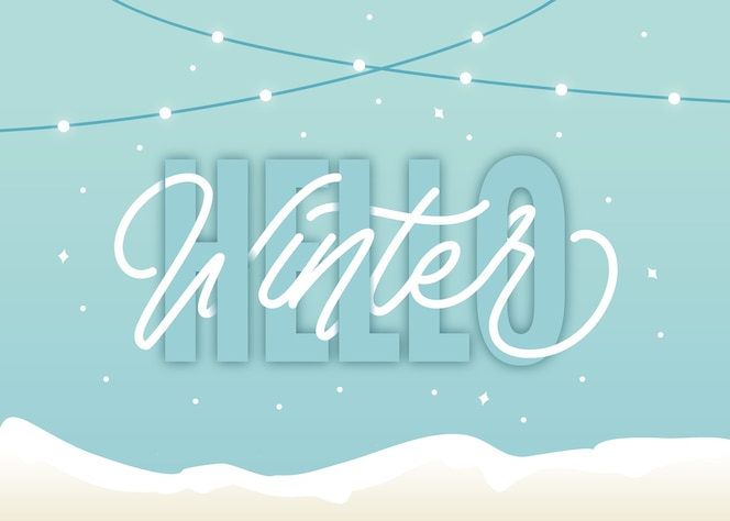 минималистичный привет зимний фон надписи