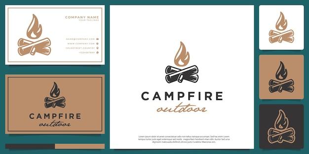 Minimalist hipster bonfire logo