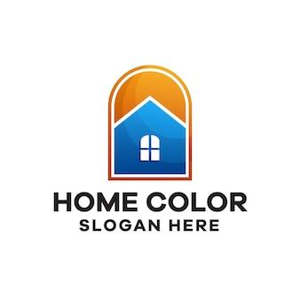 ミニマリストの家のグラデーションカラフルなロゴデザイン