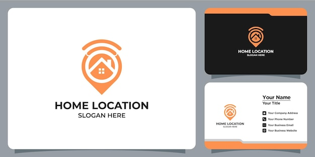 Minimalist home and location logo set with business card branding