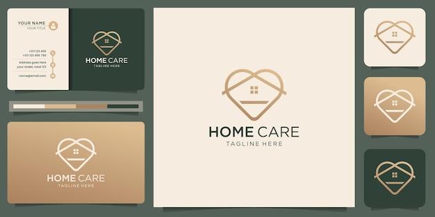 Minimalist home logo with creative love linear style design. home care logo inspiration design.