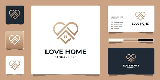 Minimalist home real estate logo with line icon for apartment, residential, est