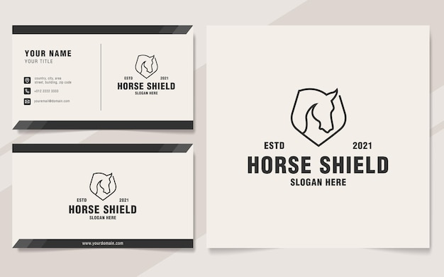 Minimalist horse shield logo template monogram style