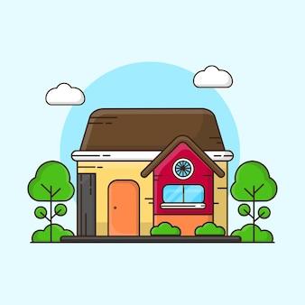 ミニマリストの家の建物のイラスト
