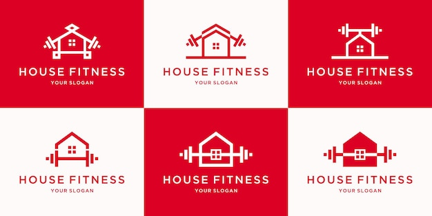 Minimalist house fitness logo with line art concept for inspiration