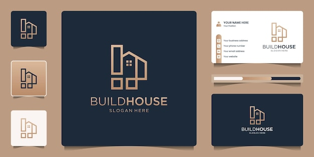 ライン アート スタイルのミニマリストの家のロゴ。不動産、アパート、ホテル、ロゴ デザイン、名刺テンプレート。