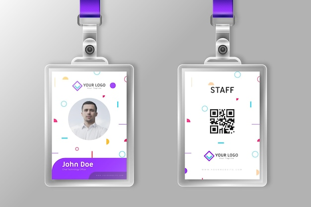 Minimalist id cards back and front view