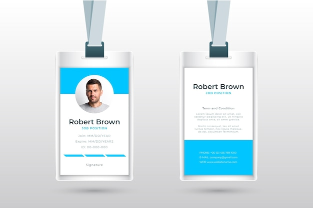 Minimalist id cards style with photo